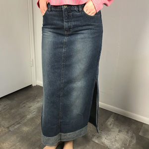 Vintage 90s Union Bay Long Denim Skirt